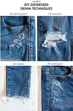 DIY Distressed Denim Techniques Road Tested Every crafter will have put their hand to a touch of distressed denim at some point. Here's my version of the DIY Distressed Denim Techniques Road Tested! Amo Jeans, Frayed Hem Jeans, Como Romper Jeans, Jean Diy, Jean Vintage, Diy Shorts, Diy Kleidung, Diy, Denim Jeans