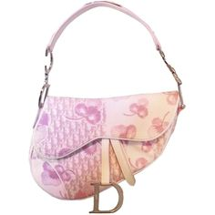 Pre-owned Dior Christian Saddle Shoulder Bag ($329) ❤ liked on Polyvore featuring bags, handbags, shoulder bags, pink, patent leather handbags, white shoulder bag, patent leather purse, pink patent leather handbag and floral shoulder bag