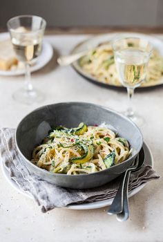 Lemony Zucchini Carbonara with Chili via Drizzle and Dip #recipe