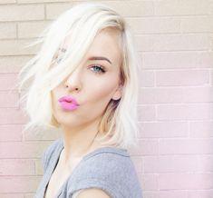 mac    candy yum yum  pink lipstick  blunt bob