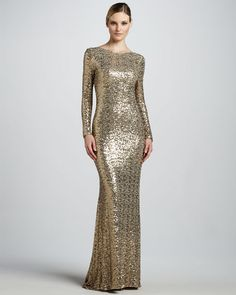Badgley Mischka Collection - Sequined Gown with Cowl Back