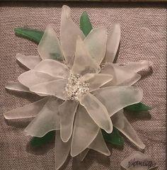 "Christmas Poinsettia Original Sea Glass Picture 6""x6"" (White frame) Authentic Prince Edward Island Sea Glass"