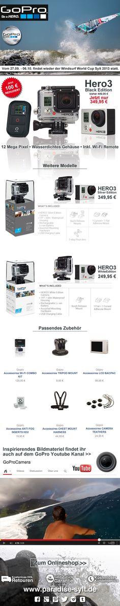 GoPro Hero3 Black Edition SALE - 100€ Sparen/ Save  #sale #reduziert #günstiger #surfcup #sylt #gopro #camera #kamera #newsletter  www.paradise-sylt.de