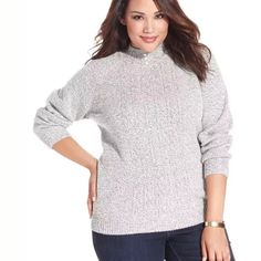 Karen Scott sweater Karen Scott plus size Marled Mock - turtleneck sweater size 2X , material : acrylic / polyester , bright white Marled Karen Scott Sweaters Cowl & Turtlenecks
