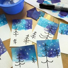 These beautiful winter skies were made with bleeding blue and purple tissue paper. #atc