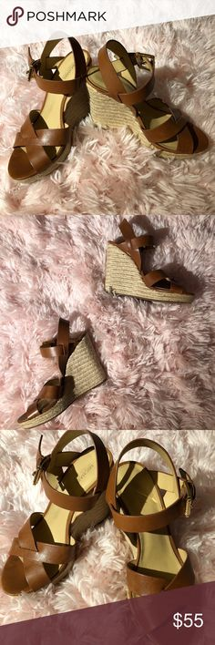 Michael Kors - Wedges - Brown Leather - Size 8.5 Condition: GREAT, only worn twice! Material: Leather Size: 8.5  - From a smoke & pet free home.  - Sorry no trades.  - Share this item, and I'll share back - I'm new to Poshmark, and love exploring new closets! Michael Kors Shoes Wedges