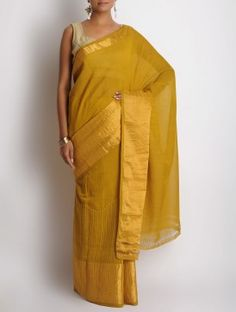 Mustard Cotton Zari Hand Embroidered Saree