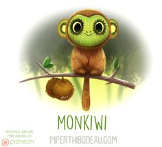 Daily Paint 1620. Monkiwi by Cryptid-Creations Time-lapse, high-res and WIP sketches of my art available on Patreon (:Twitter • Facebook • Instagram • DeviantART