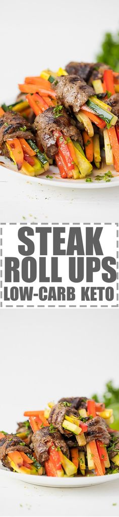 Easy Steak Rolls Recipe With Veggies Low-Carb, Keto - very easy to make, juicy steak strips rolled around julienned carrots, peppers and zucchini, grilled to perfection. Great for an appetizer or a snack, but also could be served as a main dish. Low-carb, keto diet approved ingredients. #KETORECIPES #KETODIET #lowcarb #lowcarbrecipes #steakrecipe #steakrollups via @cookinglsl