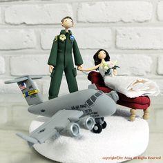 An Air Force Pilot wedding cake topper (A Charleston C-17!)
