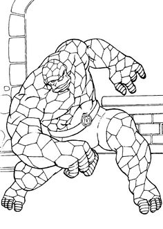 The Mighty Things Coloring Page Fantastic Four Superheroes Are In Action To Protect