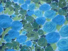 5 Pcs Vintage Mid Century Turquoise Aqua Blue Green Floral Fabric 37 x 43 Cotton