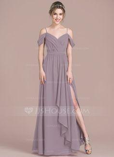 A-Line/Princess V-neck Floor-Length Chiffon Bridesmaid Dress With Bow(s) Split Front Cascading Ruffles (007104738)