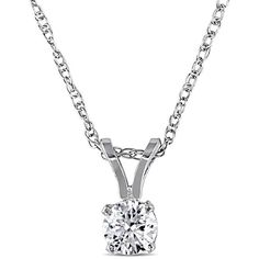 Miadora 1/4ct TDW Diamond Solitaire Drop Necklace in 14k White Gold (£190) ❤ liked on Polyvore featuring jewelry, necklaces, white, long chain necklace, white gold diamond necklace, diamond pendant, white gold pendant necklace and round diamond necklace