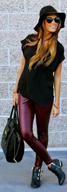 Attractive Burgundy Leather Trousers with Black Cute Hat, Blouse, Accessories, Amazing Handbag and Boots