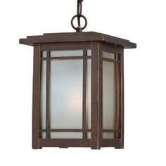 Hampton Bay Port Oxford 1-Light Oil Rubbed Chestnut Outdoor Hanging-Mount Lantern 23014 at The Home Depot - Mobile