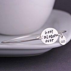 Sterling Silver Handstamped Message Bangle Bracelet, Jewelry Gift for Sister, Friend
