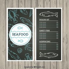Without wasting much of your precious time, go right away and get your hands on the Seafood Menu Template that you feel to be a perfect pick for you and. Restaurant Menu Card, Restaurant Menu Design, Menu Card Design, Food Menu Design, Seafood Menu, Seafood Restaurant, Fish Background, Fish And Chip Shop, Fish Logo