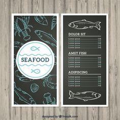 Seafood menu Free Vector