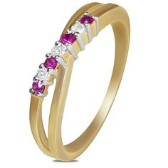 .06cttw with Genuine Ruby in 10k Yellow Gold Ring Nissoni...…