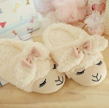 Cute Sheep Animal Cartoon Women Winter Home Slippers For Indoor Bedroom House Warm Cotton Shoes Adult Plush Flats Christmas Gift(China (Mainland))