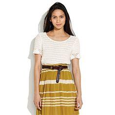 stripes. mustard skirt & leather belt
