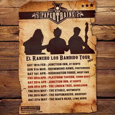 ¡Arriba, arriba! We've a right bumper crop of shows comin' up THIS BANK HOLIDAY WKND, as we take up the reins once more on our El Rancho Los Bandido Tour: Fri 28th Apr - Platform Tavern, Town Quay Sat 29th Apr - Junction Inn, St Denys Sun 30th Apr - The Linden Tree, Bursledon  ...music from 9pm!  Proudly sponsored by Absolute Music, Bournemouth: www.absolutemusic.co.uk  #livemusic #southampton #thepapertrains #americana