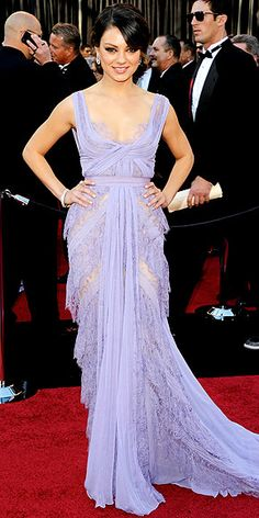 Our brides are loving color lately! Mila Kunis' gorgeous lavender gown is great inspiration for bridal wear...