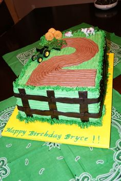 John Deere number cake plowed field