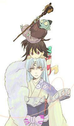 Inuyasha - Sesshomaru, Lin and Jaken I enjoy Sesshomaru's expression... so happy