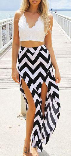 Cropped top & chevron skirt