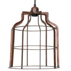 Vintage Copper Open Wire Ceiling Pendant Light - Large