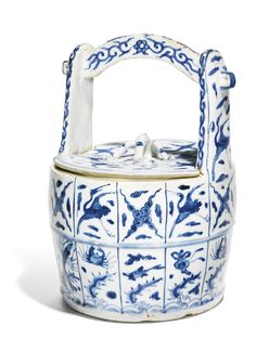 A blue and white kosometsuke water bucket and cover, Ming Dynasty, Tianqi Period