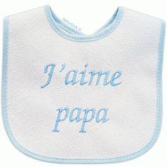 1abb7a6633c2f Bavoir bébé garçon en éponge dos PVC brodé J'aime Papa bleu > Babystock