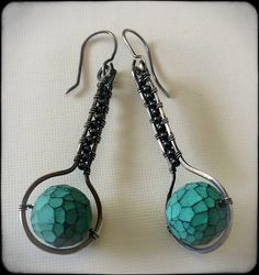Polymer clay earrings with hematite beads | Flickr - Photo Sharing!