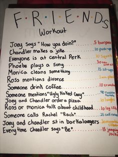 If I'm watching it for the hundredt… Friends workout- haha interesting concept. If I'm watching it for the hundredth time might as well get a workout from it haha Serie Friends, Teen Friends, Friends Episodes, Friends Moments, Friends Tv Show, Funny Friends, Friend Memes, Tv Show Workouts, Fitness Workouts