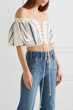 Roberto Cavalli - Off-the-shoulder Lace-up Striped Cotton-blend Top - White - IT44