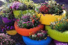 tire gardens - Google Search Tire Garden, Garden Tool Shed, Garden Pallet, Pallet Fence, Tire Planters, Garden Planters, Container Plants, Container Gardening, Landscaping Tools
