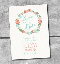 Rustic Floral Save the Date Printable Wedding Invitations by ItsyBelle  Mint, Coral, Green, Aqua, Peach