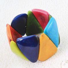 Colorful Tagua Bracelet  Chunky Rustic Bracelet  Vegetable