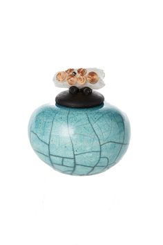 Hand thrown crackle jars with beautiful crystals on the lid.  Crystal Dream Jar by Raqu PotteryWorks. Home & Gifts - Home Decor - Decorative Objects Texas