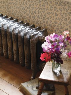 The Rococo cast iron radiator shown in the hand burnished finish. The cast iron radiator is shown in the height of 460mm making it ideal for small rooms.