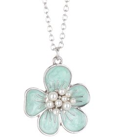 Flower Charm Necklace (Silver/Mint) $1.50