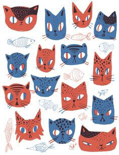 Set of illustrations applied to products. A percentage of the sales were donated to the local cat shelter to rescue kittens in need.