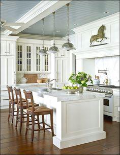 kitchen pendant lighting, love the horse weather vane