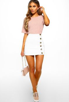 Awesome 45 Excellent White Denim Mini Skirt Ideas For Women Style To Have Denim Mini Skirt, Mini Skirts, Women's Skirts, Denim Skirts Online, Pink Boutique Uk, Stretch Denim Fabric, White Denim, Sweater Weather, Fit And Flare