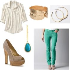 Green Straight Leg Corduroy Pants, created by shoestringfashion on Polyvore
