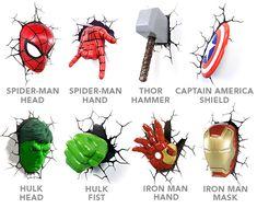 3D Deco Superhero Wall Lights   ThinkGeek...definitely Hulk & Iron Man....for starters anyway
