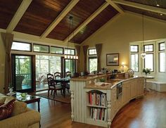 Expansive Pella® sliding doors are featured in this Milwaukee home. Pella Windows, Windows And Doors, Kitchen Cabinets And Granite, Countertop, Milwaukee Home, Dining Room Inspiration, Wood Ceilings, Traditional Kitchen, Home Improvement Projects