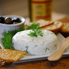 Homemade goat cheese w herbes (not chevre style)- just goat milk, herbs, and white vinegar